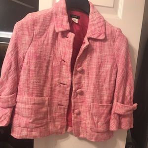 J. Crew pink suit jacket tweed